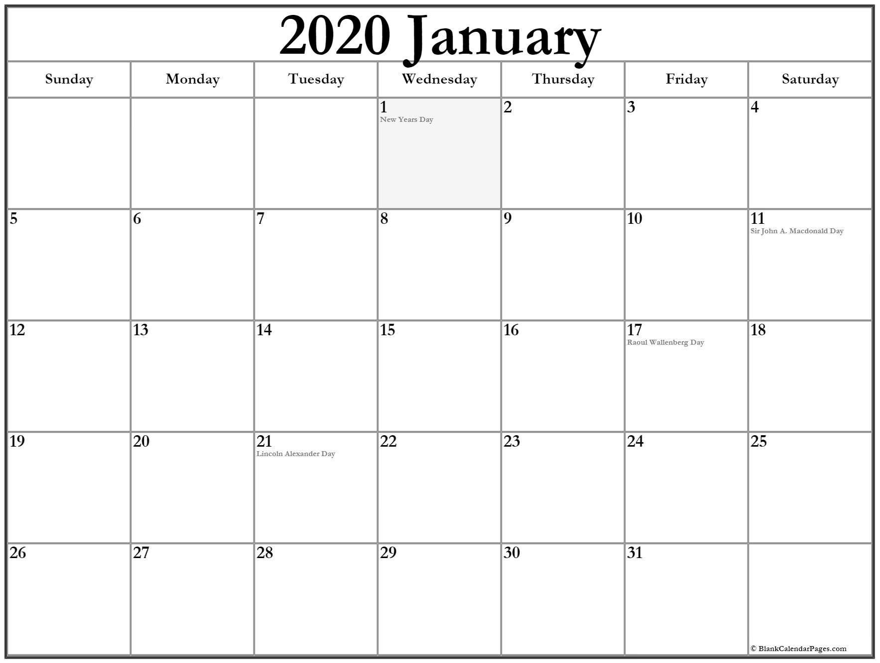 January 2020 Calendar With Holidays | Canadian Calendar Printable Calendar 2020 Of Ridiculous Holidays
