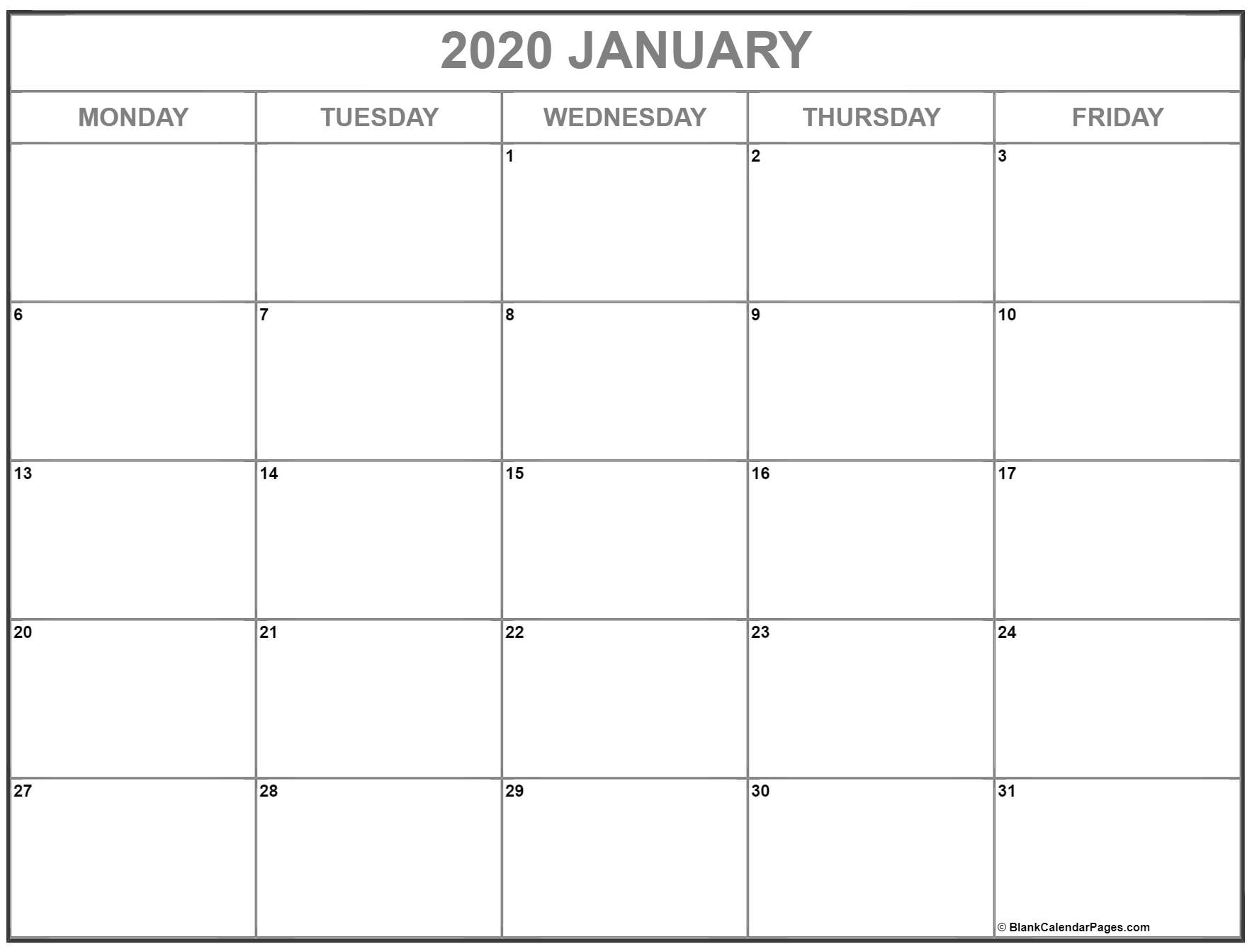 January 2020 Monday Calendar | Monday To Sunday Blank Calendar Monday To Friday