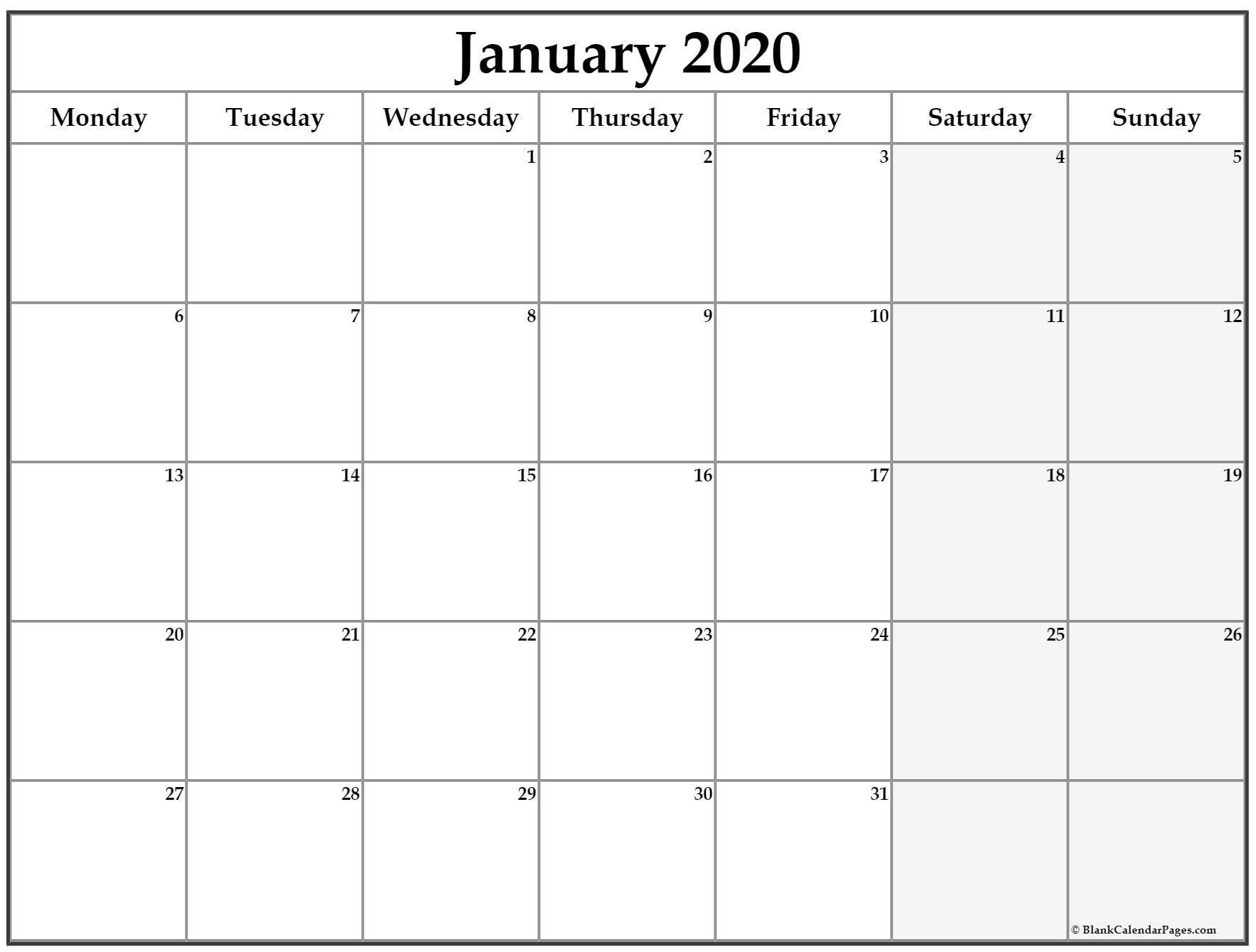 January 2020 Monday Calendar | Monday To Sunday Calender To Print With Monday Start Date