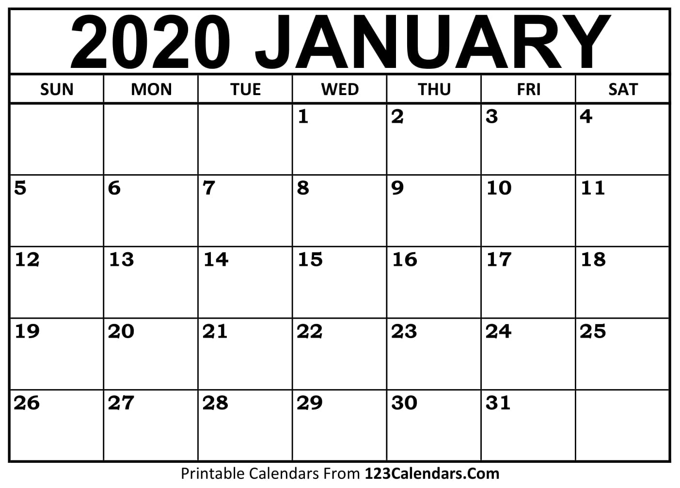 January 2020 Printable Calendar | 123Calendars Perky 2020 Monthly Calendar Template Word