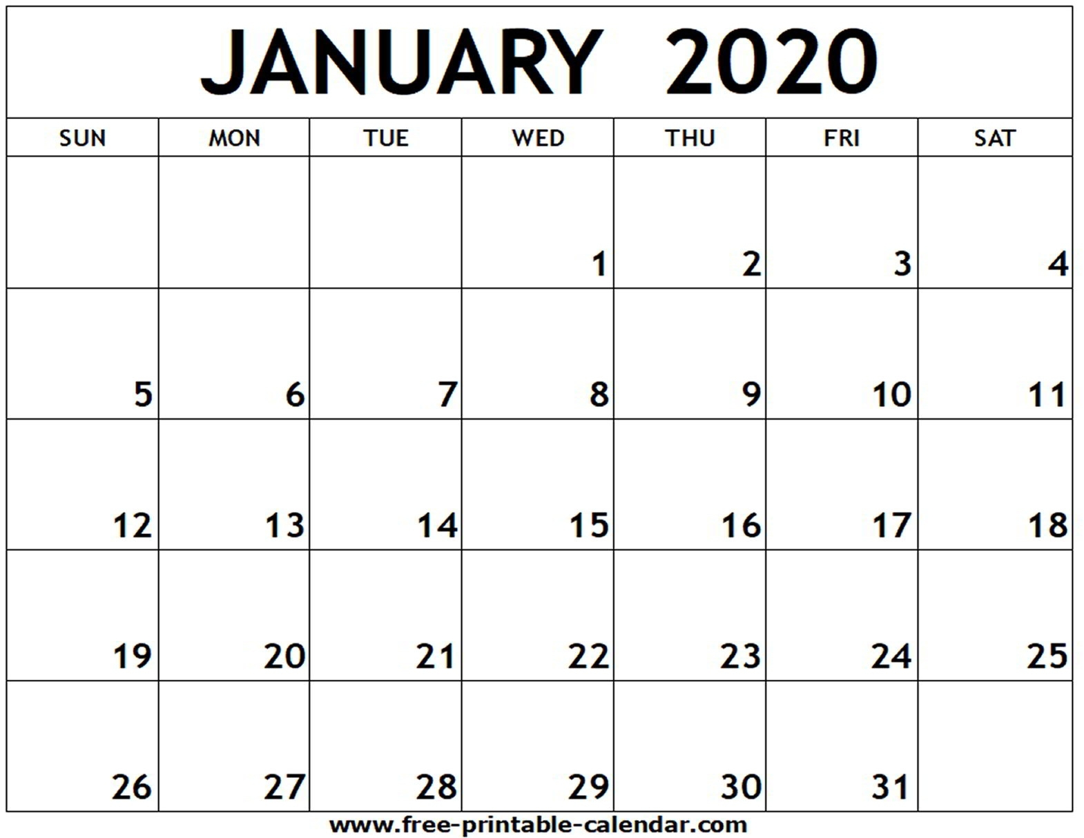 January 2020 Printable Calendar - Free-Printable-Calendar Extraordinary January 2020 Printable Calendar Canada