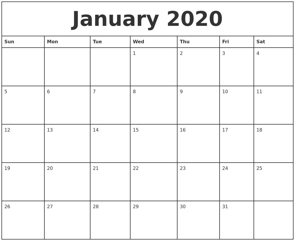 January 2020 Printable Monthly Calendar 2020 Monthly Calendar Monday Start