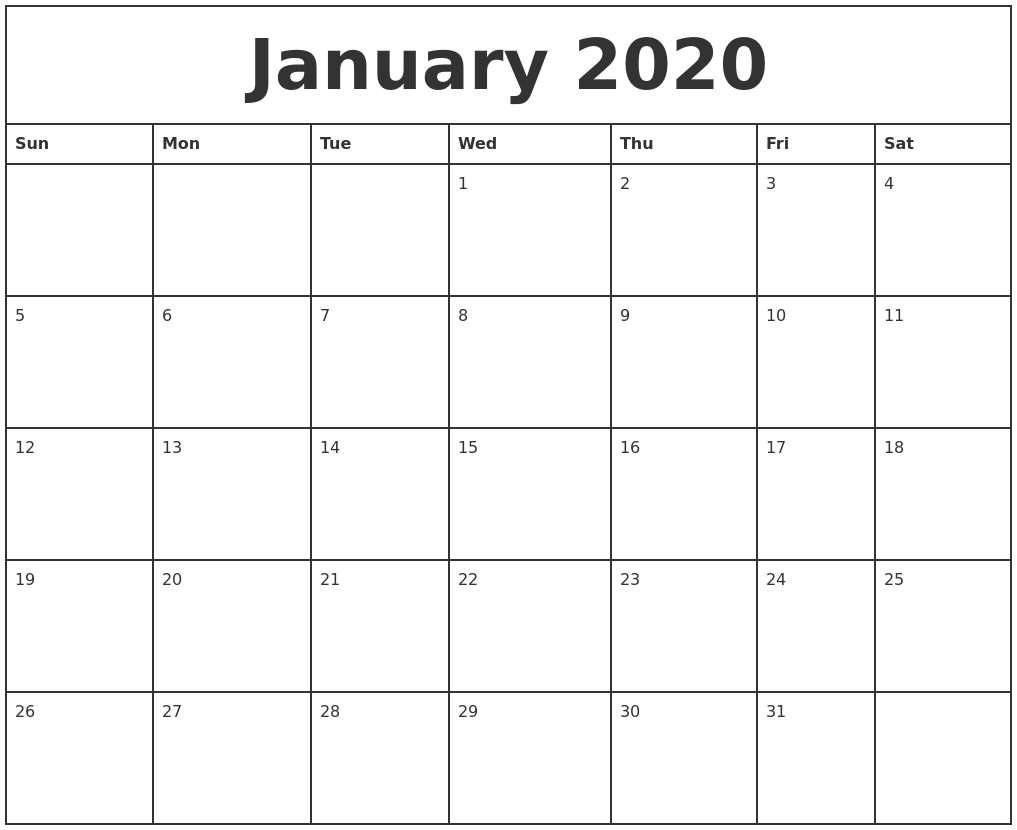 January 2020 Printable Monthly Calendar Printable Monthly Calendar Monday Start