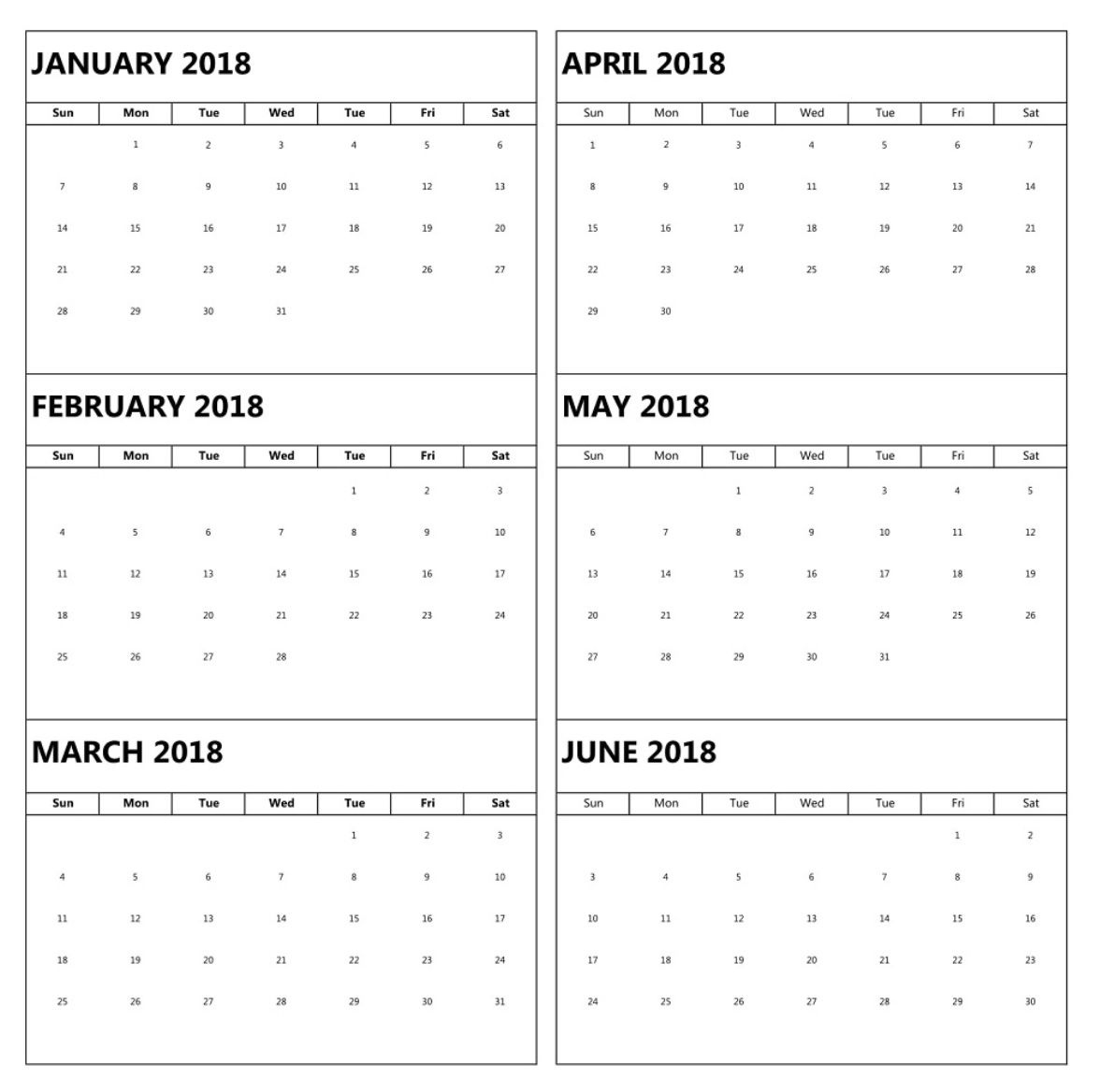 January To June 6 Months Calendar 2018 | Excel Calendar Calenders With 6 Months Showing