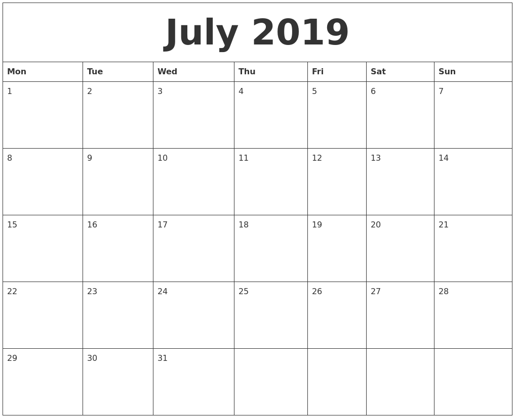 July 2019 Free Printable Monthly Calendar Remarkable Free Printable Monthly Calendars Monday Start