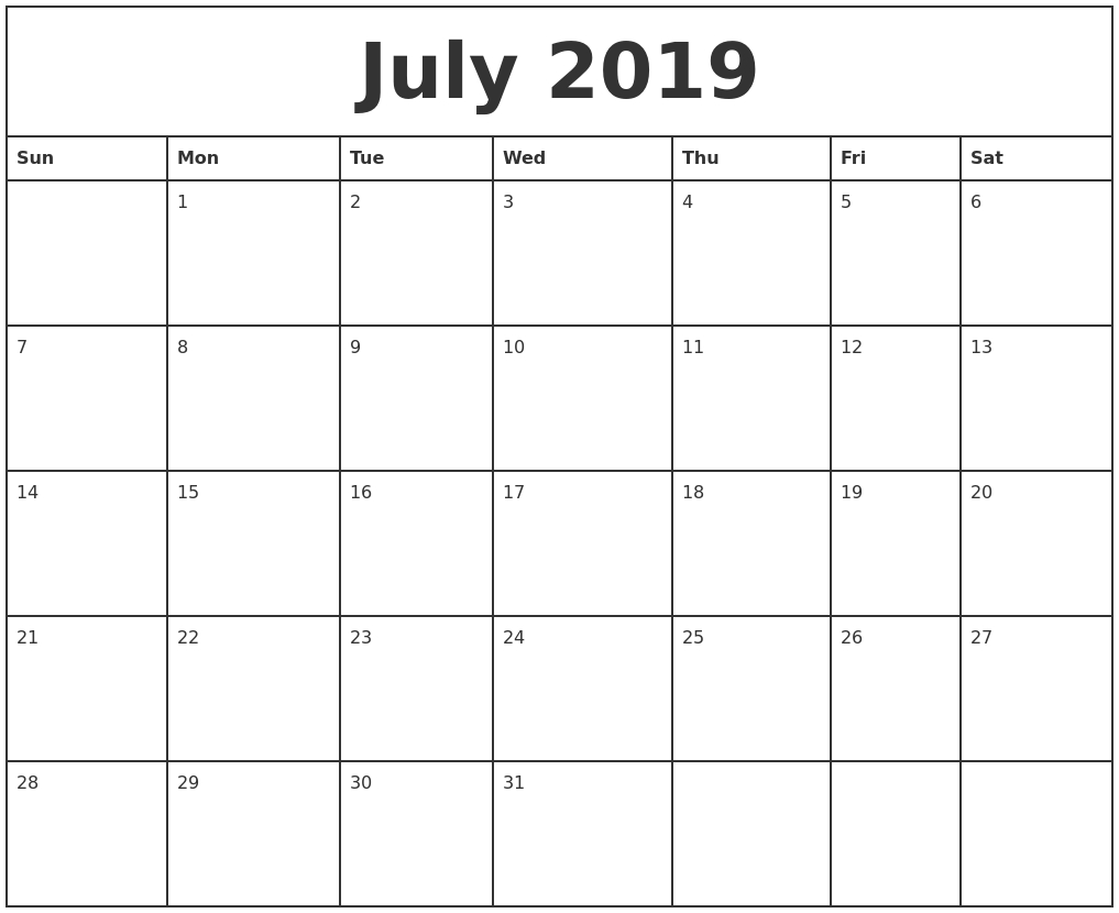 July 2019 Printable Monthly Calendar Printable Monthly Calendar Monday Start