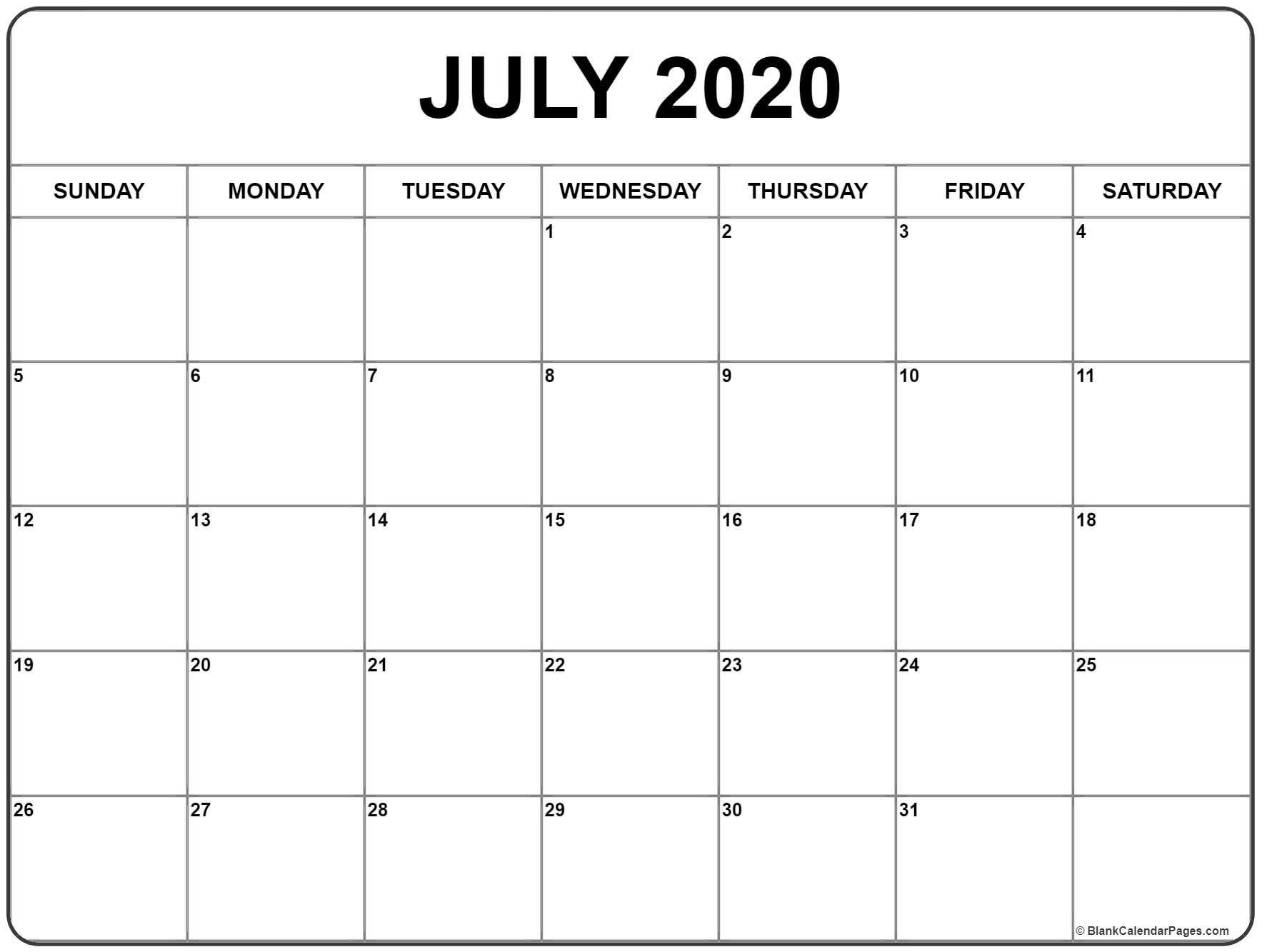 July 2020 Calendar | Free Printable Calendar, January Extraordinary Calendar Template 2020 Printable Free Black And White