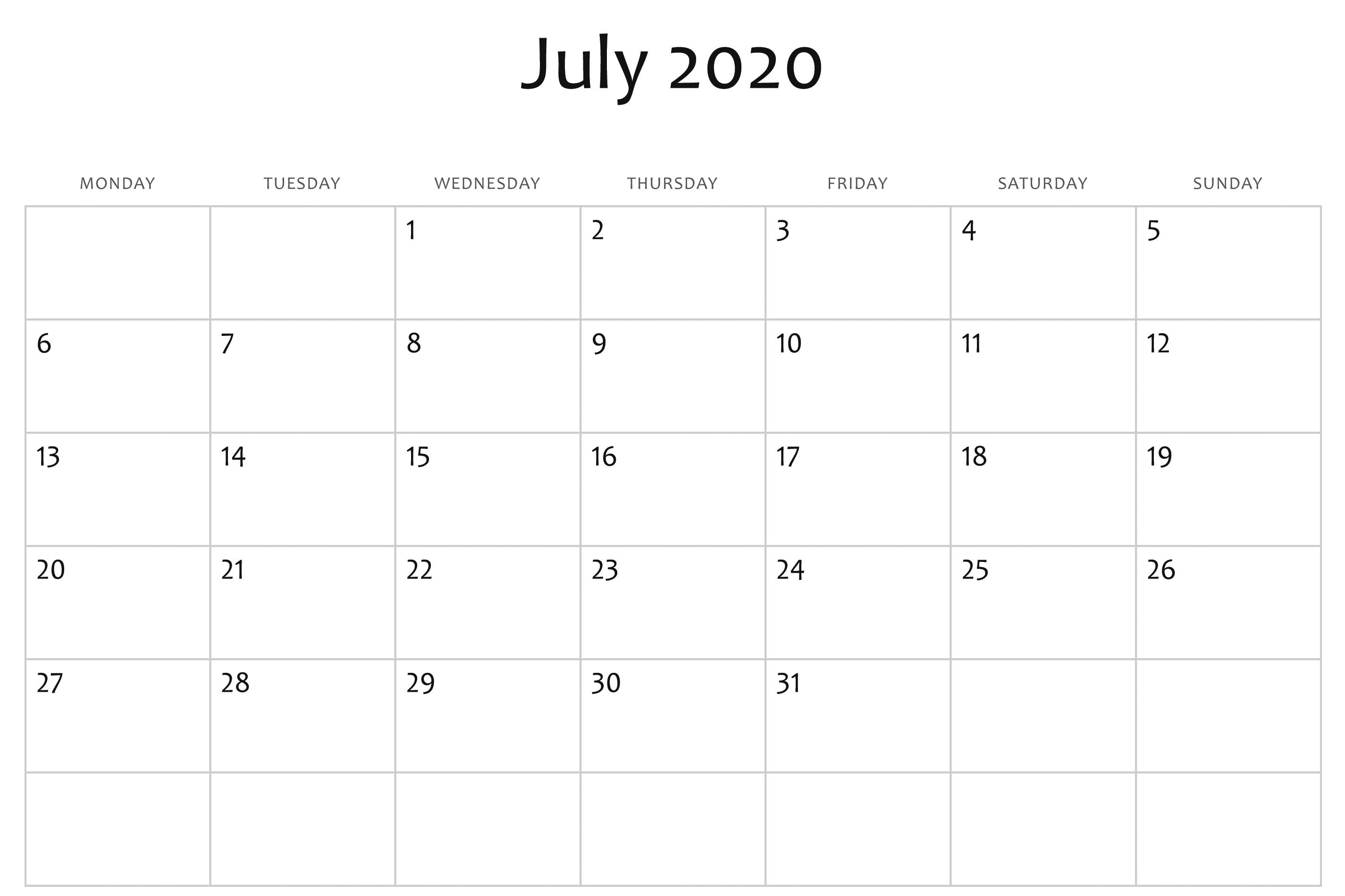 July 2020 Calendar Word | Monthly Calendar Template, Free Exceptional Microsoft Word Printable Calendar 2020