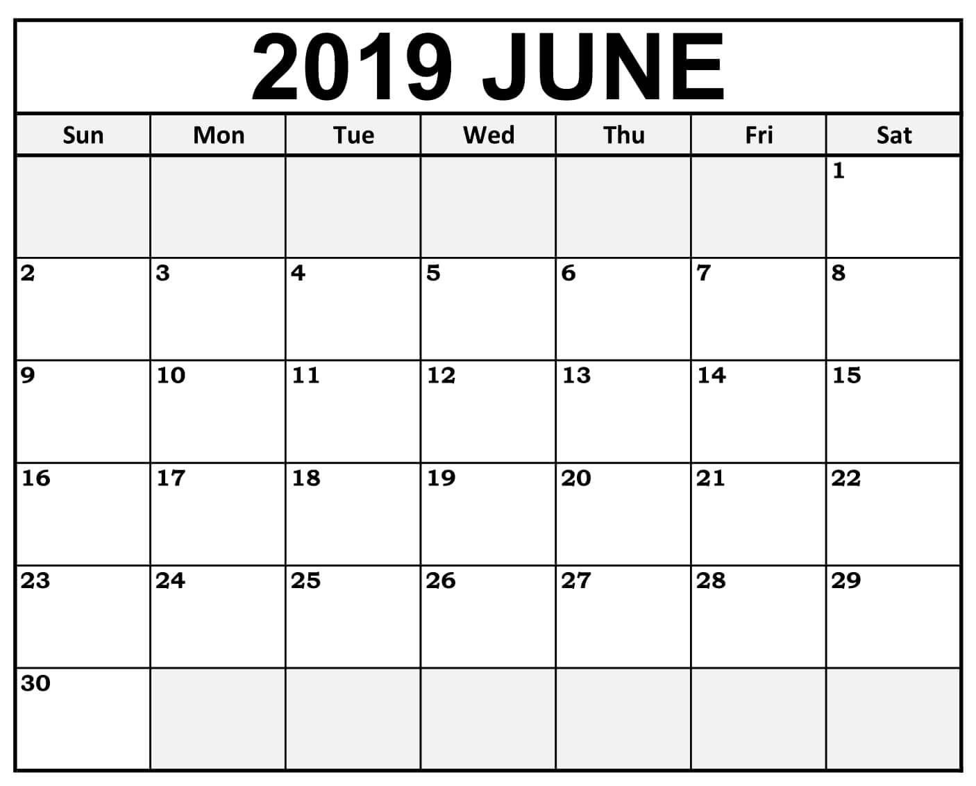 June 2019 Calendar #weekend #highlighted | September Remarkable Free Printable Calendars Without Weekends