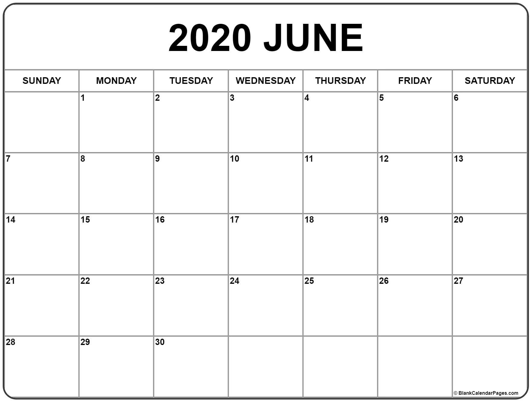 June 2020 Calendar | Free Printable Monthly Calendars Christmas Calendar 2020 Printable Free