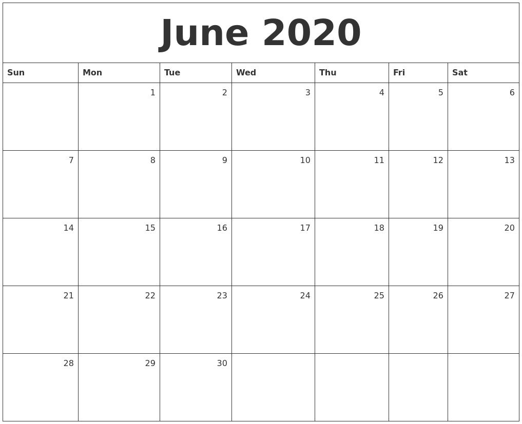 June 2020 Monthly Calendar 2020 Monthly Calendar Monday Start
