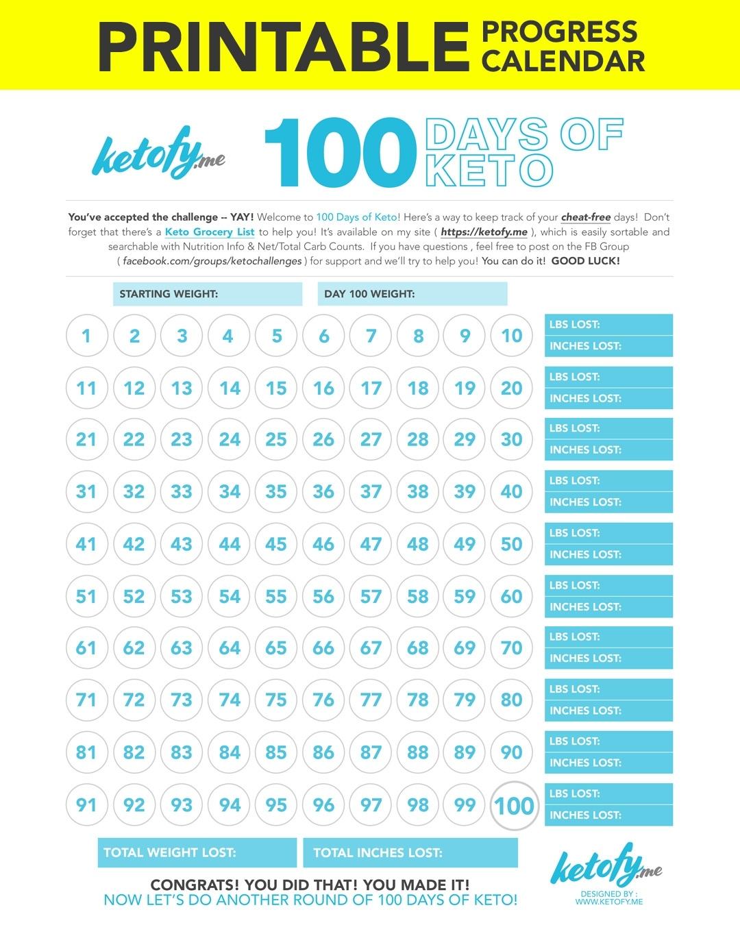 Keto ~ Fy Me | Cut Carbs, Not Flavor! • 100 Days Of Keto 100 Day Countdown Calendar Printable