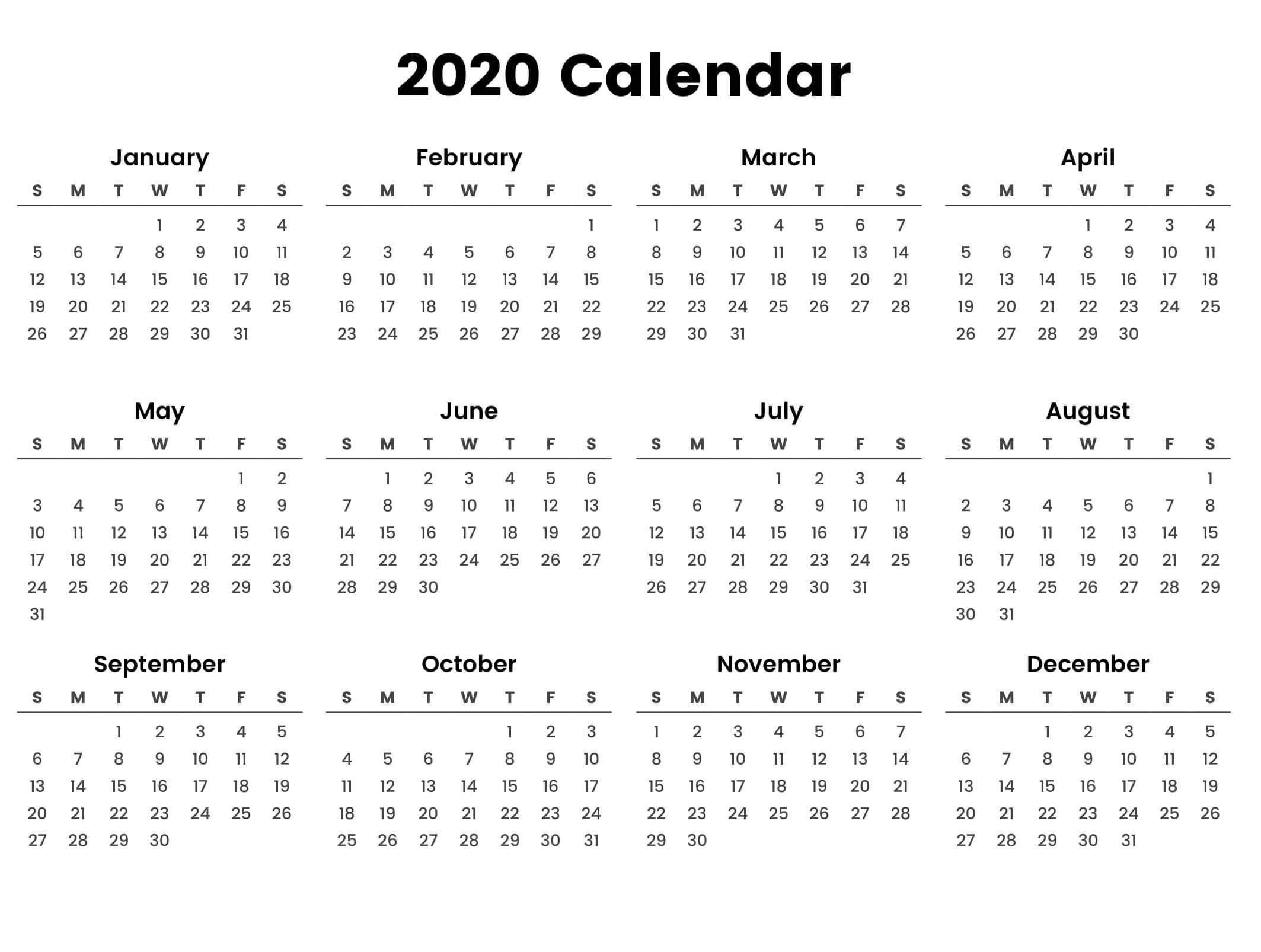 Large Yearly Calendar 2020 With Notes Pdf - Set Your Plan Impressive Free 2020 Calendar At A Glance