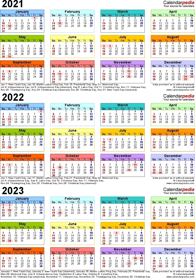 Lovely 3 Year Calendar 2022 To 2024 : Mini Calendar Template Big Printable Calendars 2020 2021 2022