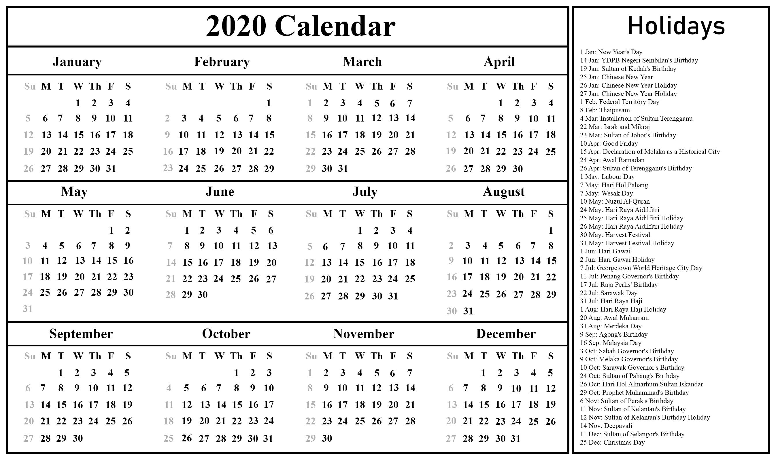 Malaysia Calendar 2020 Printable | Printable July Calendar Impressive 2020 Calendar Holidays Sri Lanka