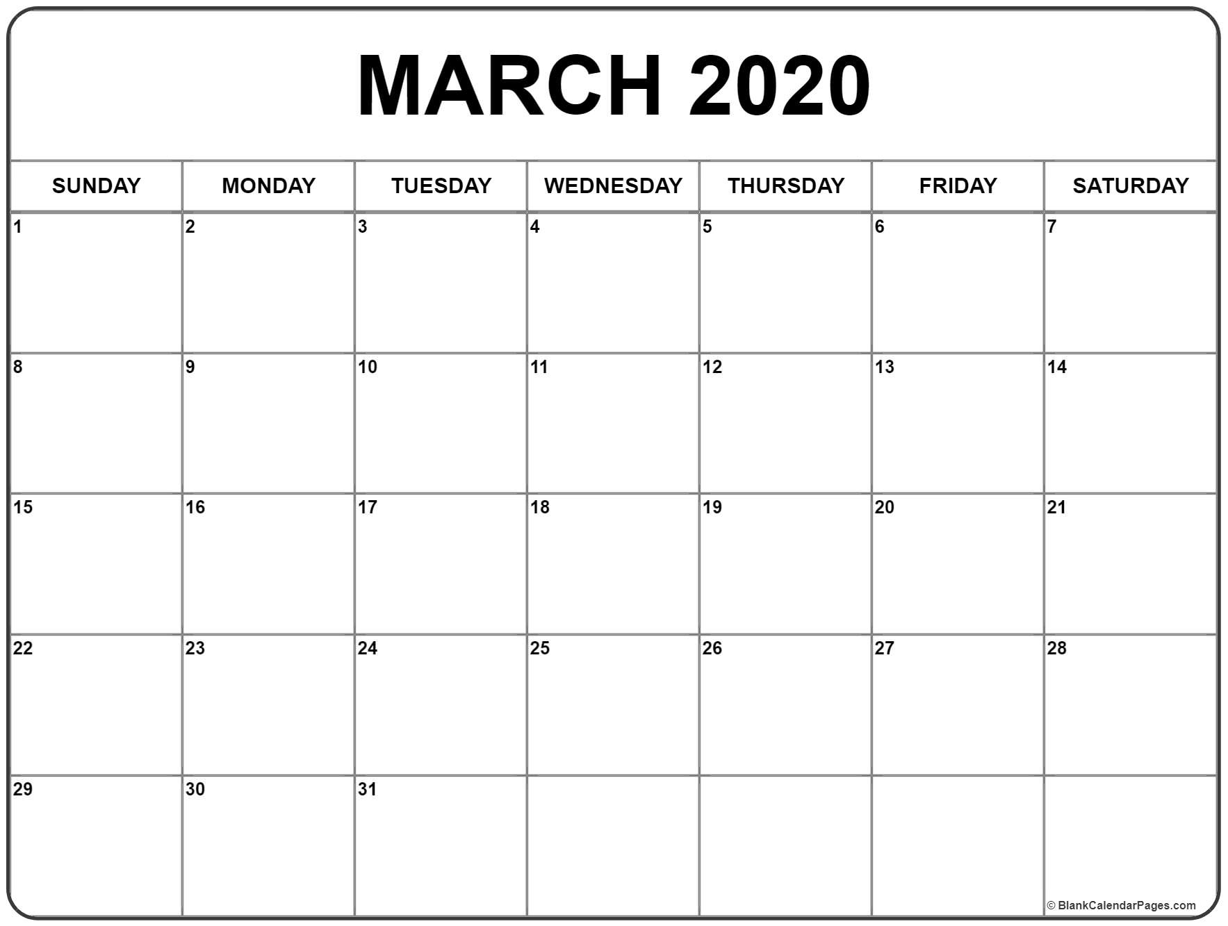 March 2020 Calendar Template - Colona.rsd7 Remarkable 2020 Blank Printable Monthly Template