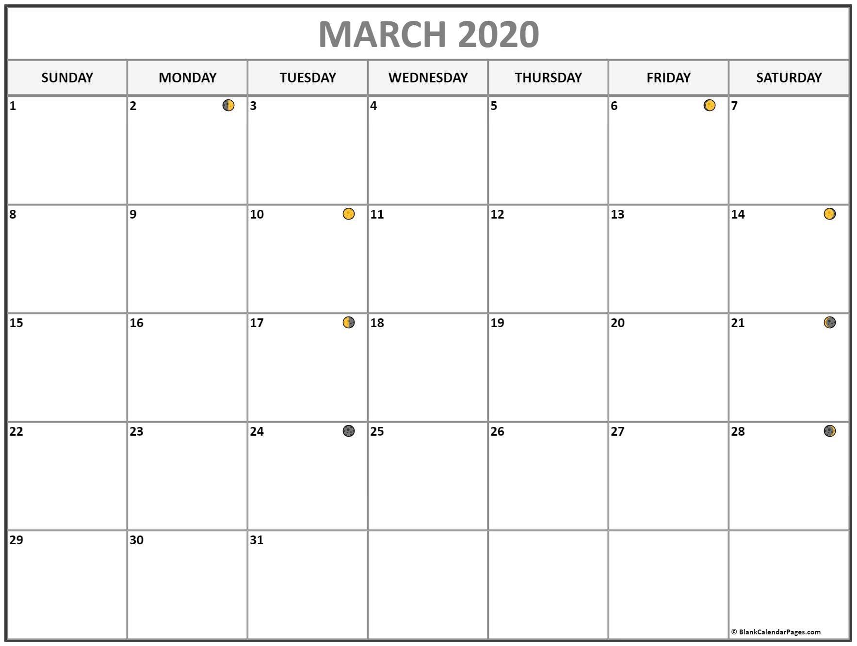 March 2020 Lunar Calendar   Moon Phase Calendar March 2020 Lunar Calendar