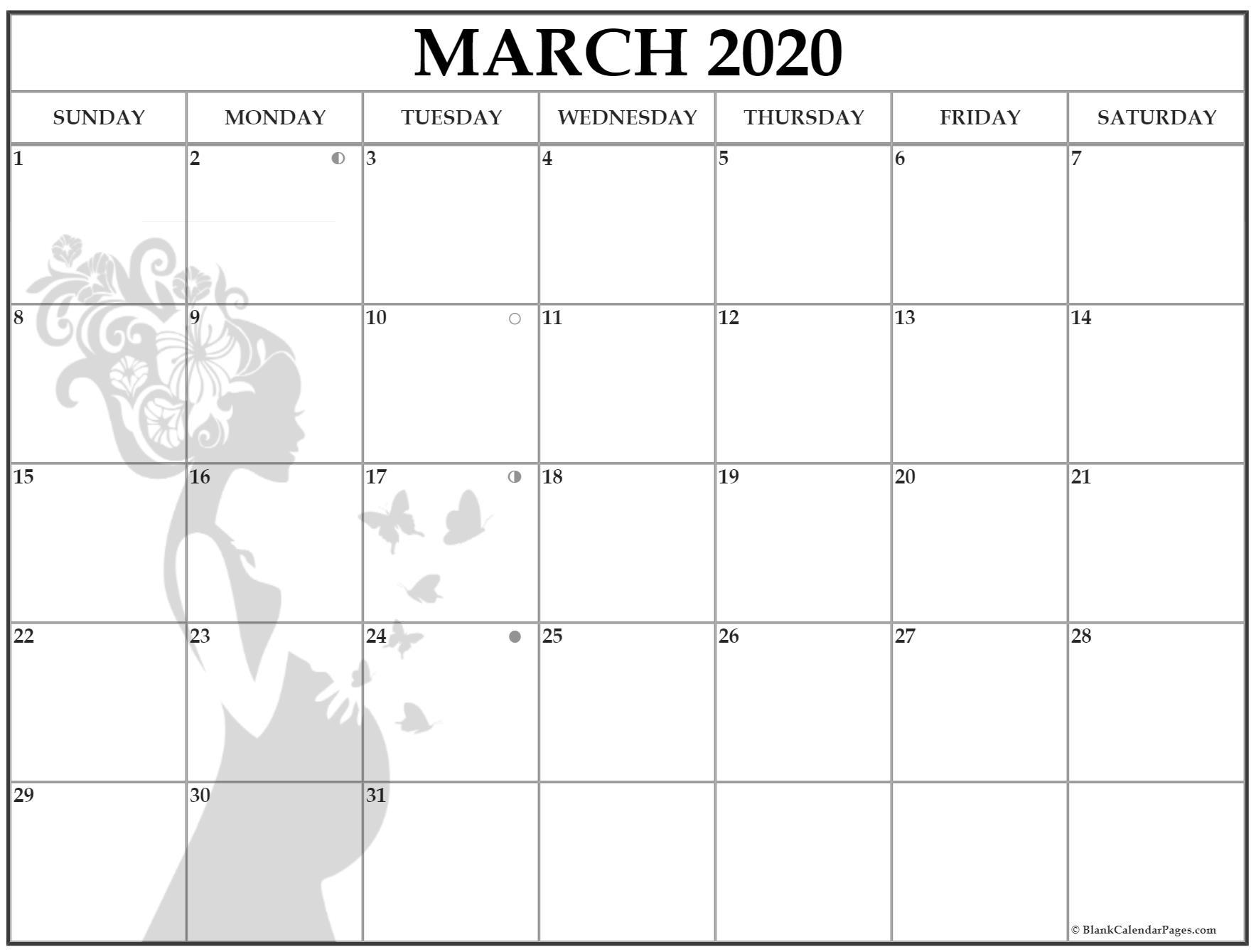 March 2020 Pregnancy Calendar   Fertility Calendar March 2020 Lunar Calendar