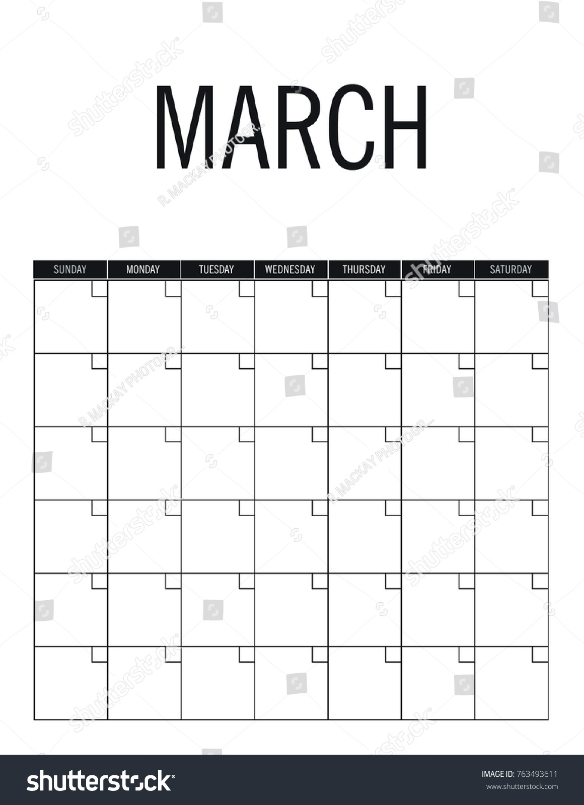 March Blank Calendar Page No Dates Stock Vector (Royalty Blank Calendar Page No Datea