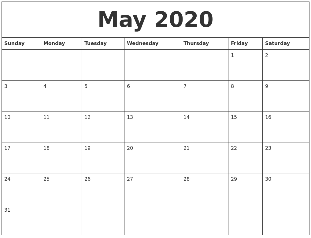 May 2020 Blank Monthly Calendar Template Impressive Blank Month Calendar 30 Days