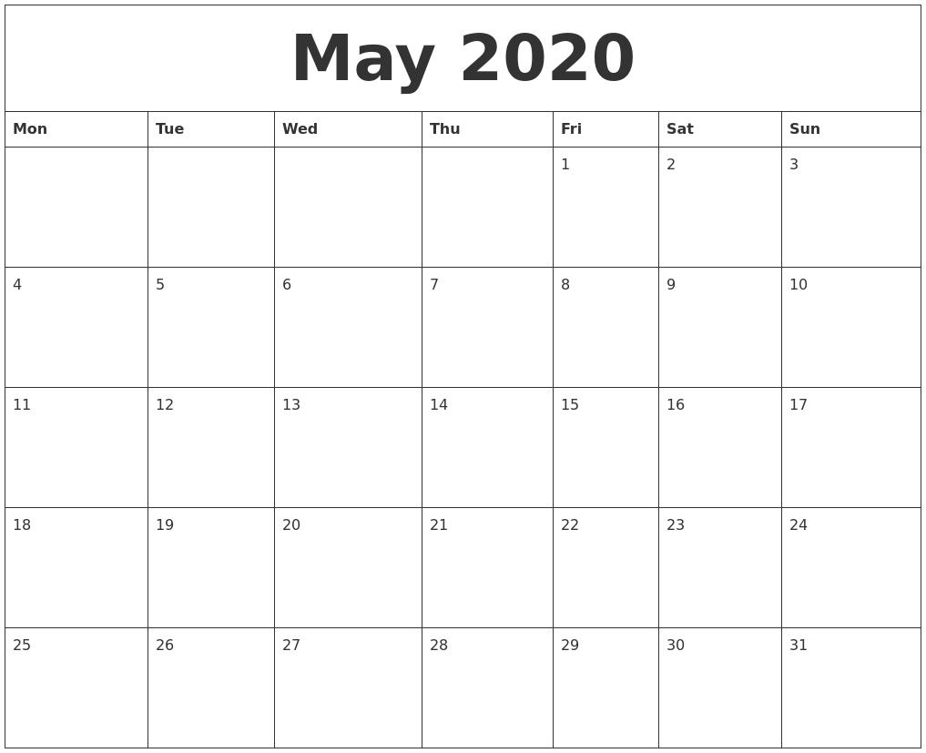 May 2020 Calendar Printable Monthly Calendar Monday Start