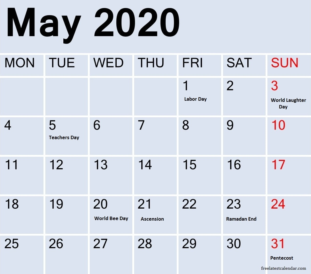May 2020 Calendar With Holidays Canada – Free Latest May 2020 Calendar Canada