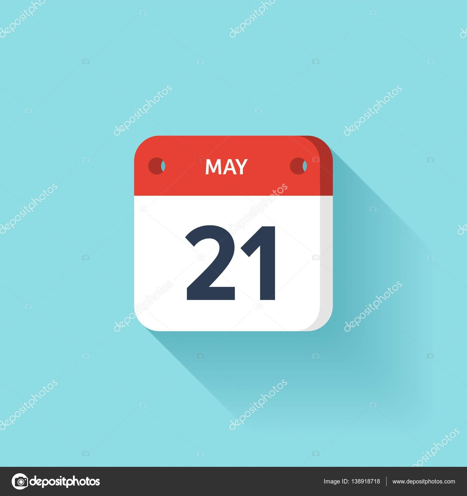 May 21. Isometric Calendar Icon With Shadow.vector Countdown Clock Without Weekends And Holidays
