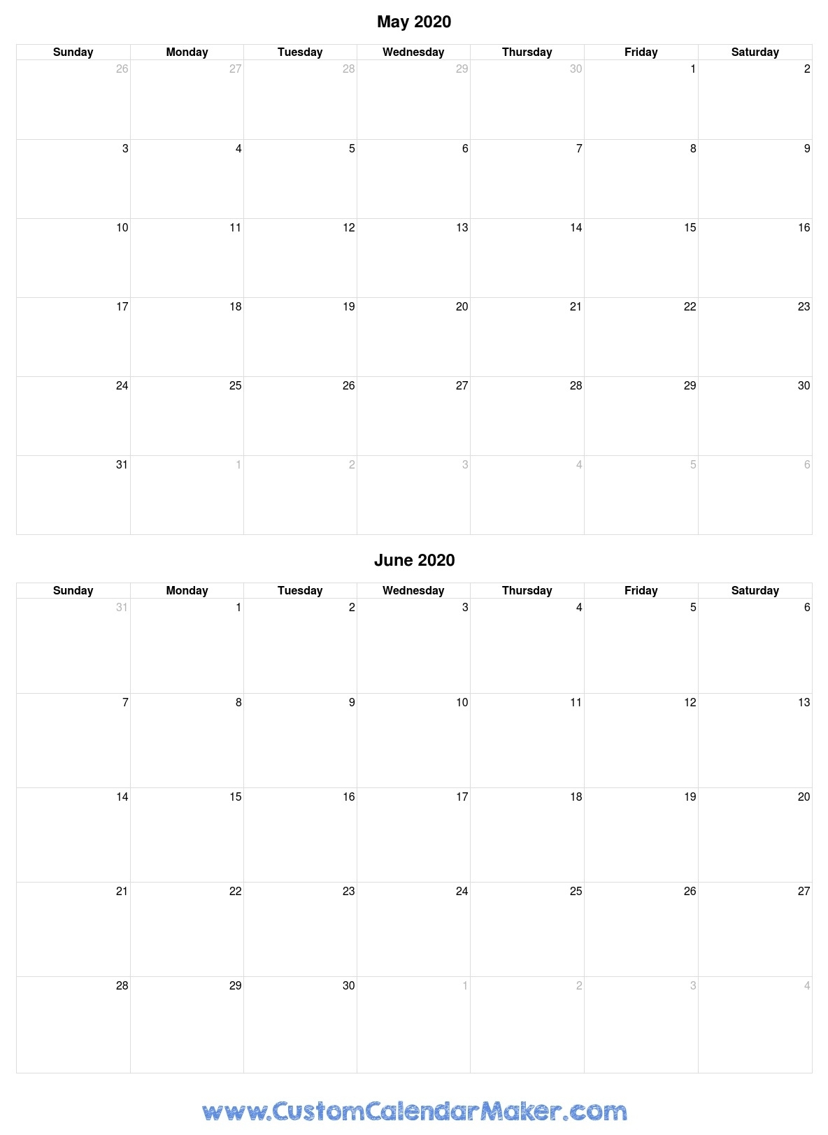 May And June 2020 Free Printable Calendar Template Extraordinary Calendar Template 2020 Printable Free Black And White