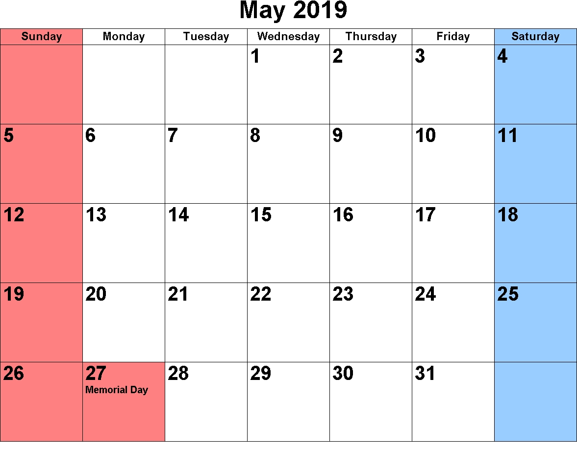 May Calendar 2019 Highlighted Weekends | Printable Calendar Free Printable Calendars Without Weekends