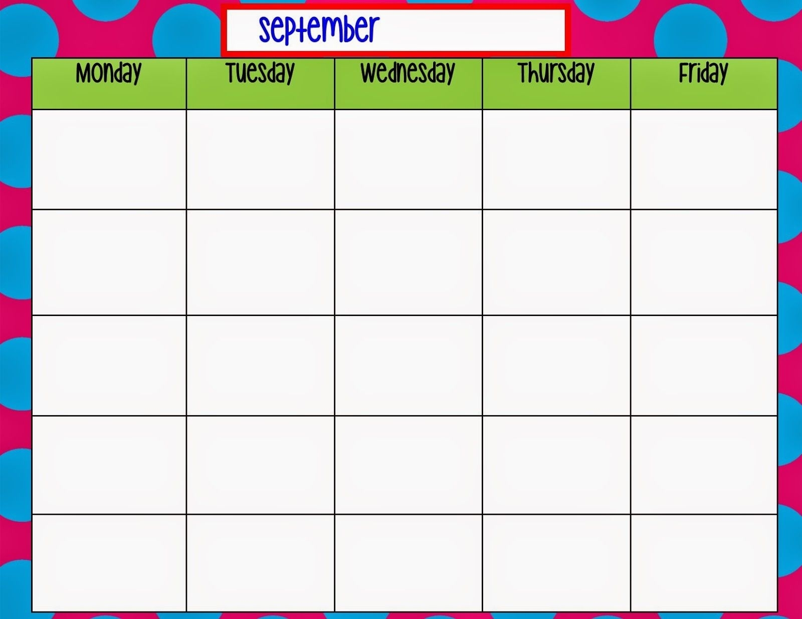 Monday Through Friday Calendar Template   Weekly Calendar Blank Monday Through Friday Schedule Word