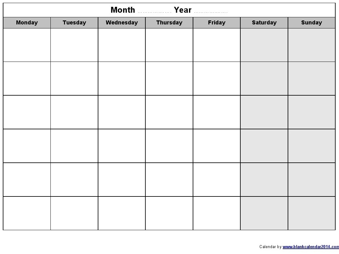 Monday To Friday Monthly Calendar Template | Monthly Blank Calendar Monday To Friday