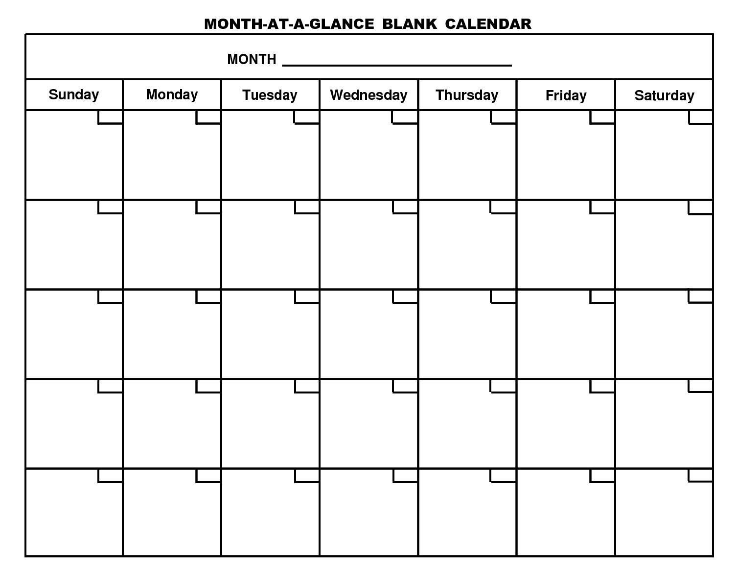 Month At A Glance Blank Calendar | Monthly Printable Calender Exceptional Month At A Glance Blank Template