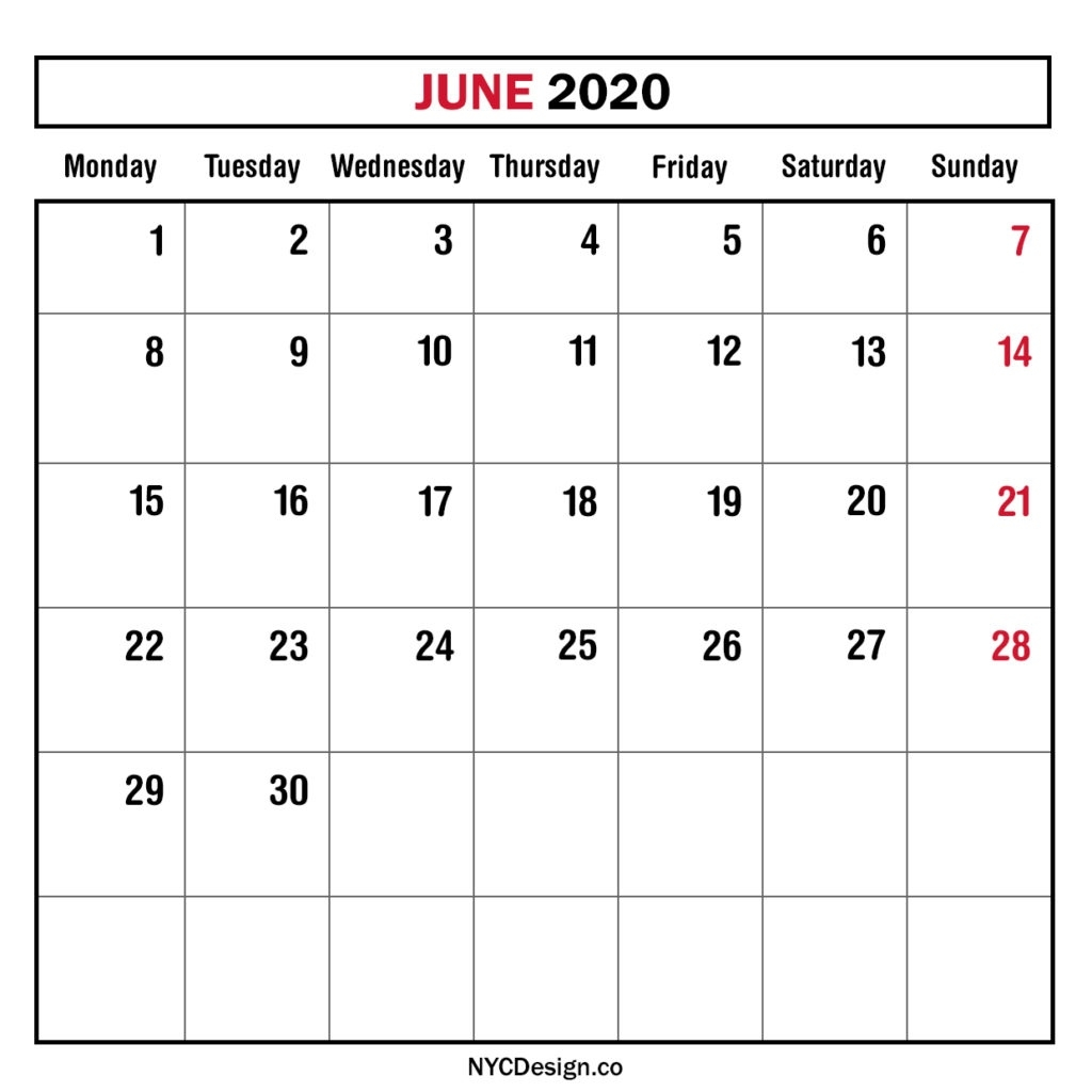 Monthly Calendar June 2020, Monthly Planner, Printable Free 2020 Monthly Calendar Monday Start