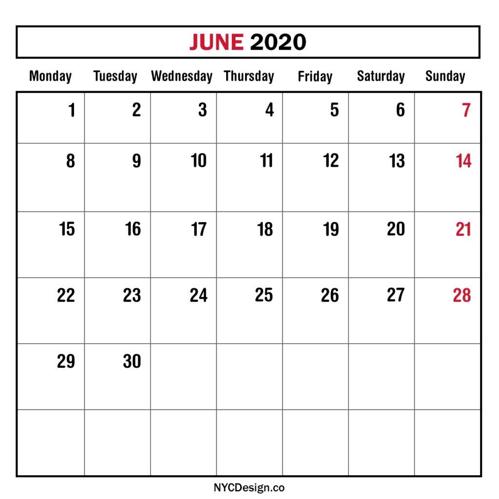 Monthly Calendar June 2020, Monthly Planner, Printable Free Remarkable Free Printable Monthly Calendars Monday Start