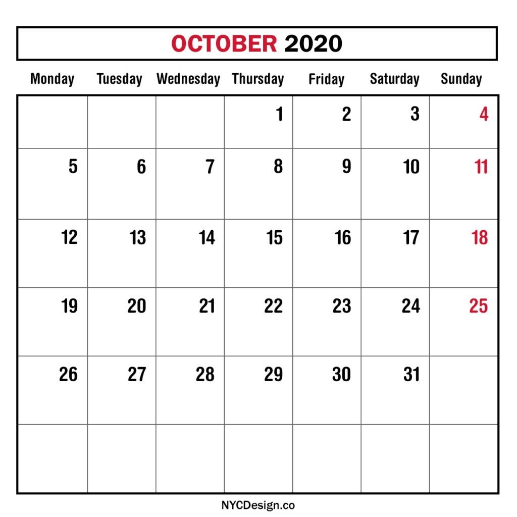 Monthly Calendar October 2020, Monthly Planner, Printable Free Monthly Calendars Starting On Monday