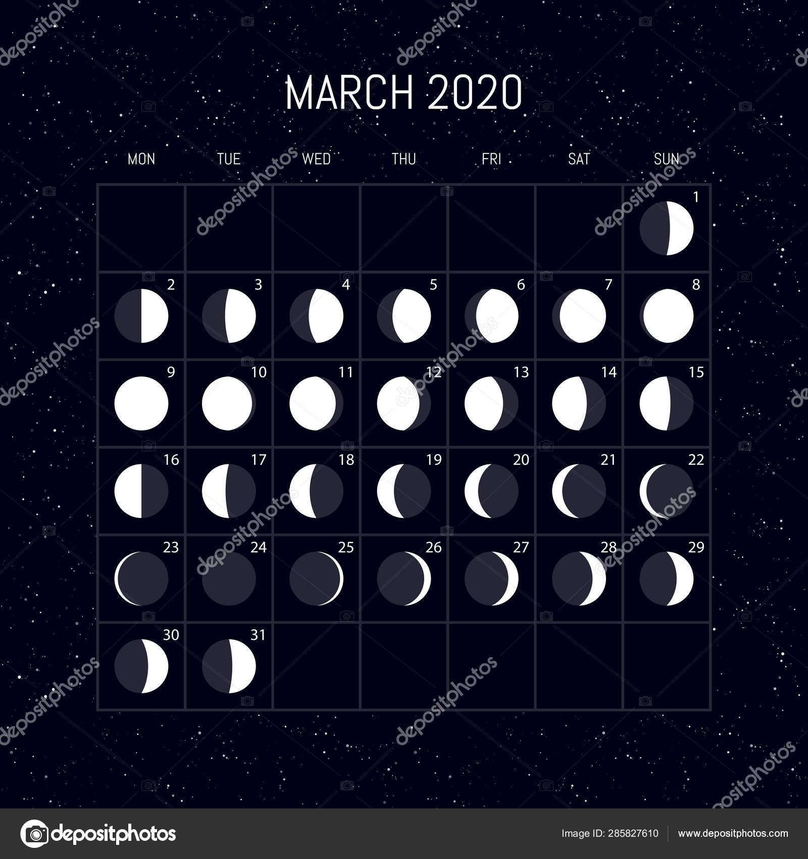 Moon Phases Calendar For 2020 Year. March. Night Background March 2020 Lunar Calendar