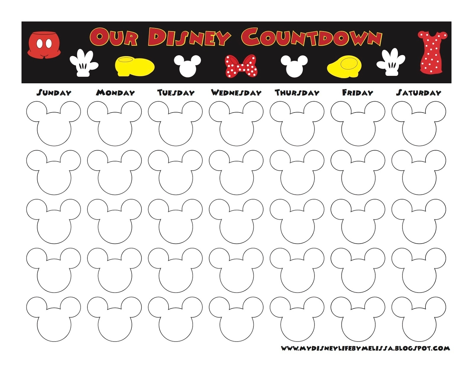 My Disney Life: Countdown Calendars Printable Countdown To Disney Calendar