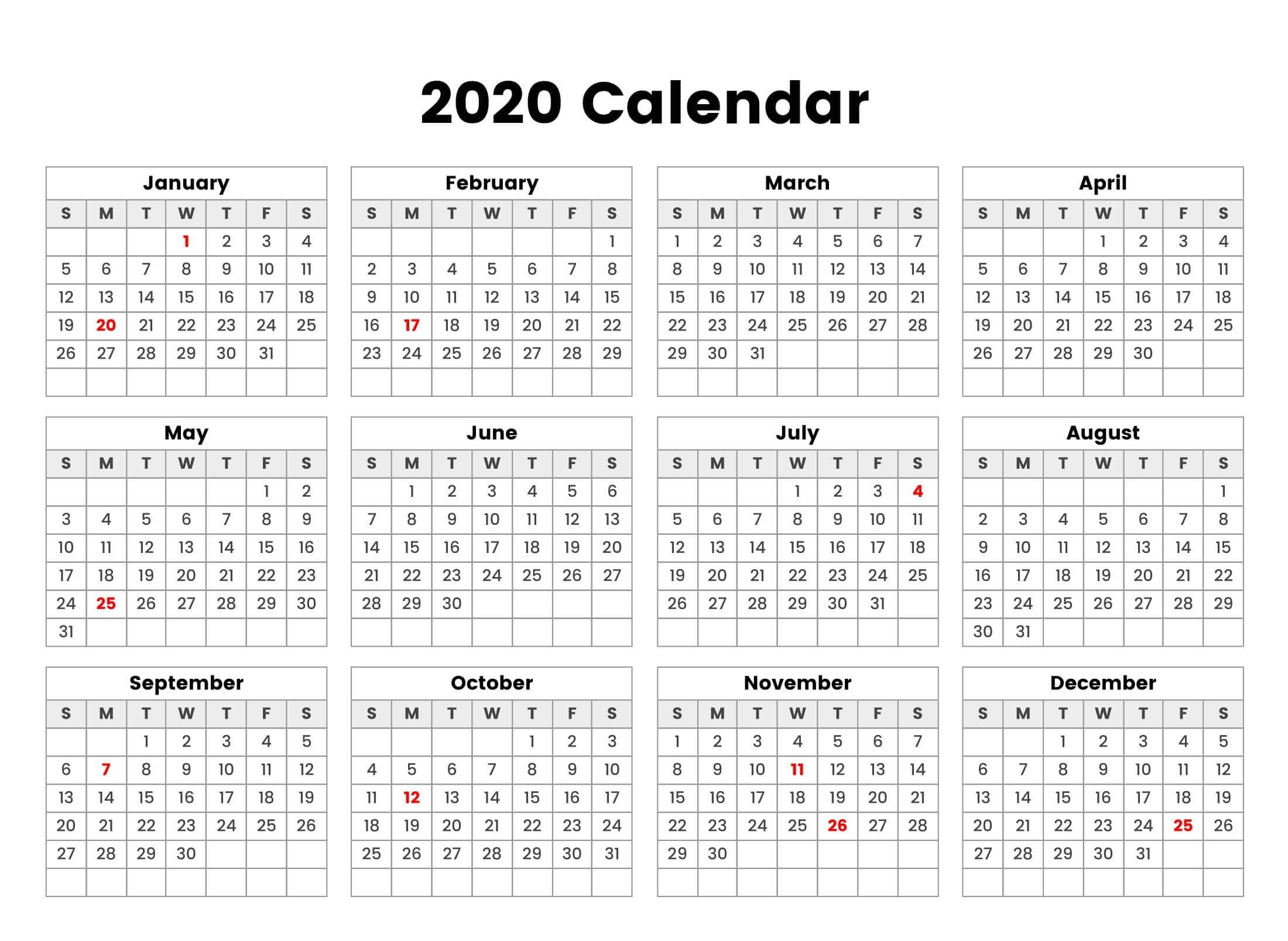 New Year Cute Calendar 2020 Holidays - 2019 Calendars For Exceptional Blank Calendar 2020 Four Months To Page