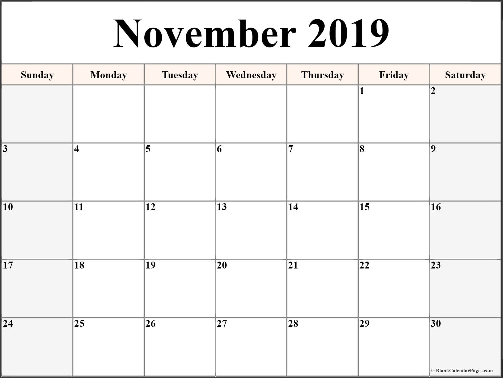 November 2019 Calendar | Free Printable Monthly Calendars Free Printable Calendars Without Weekends