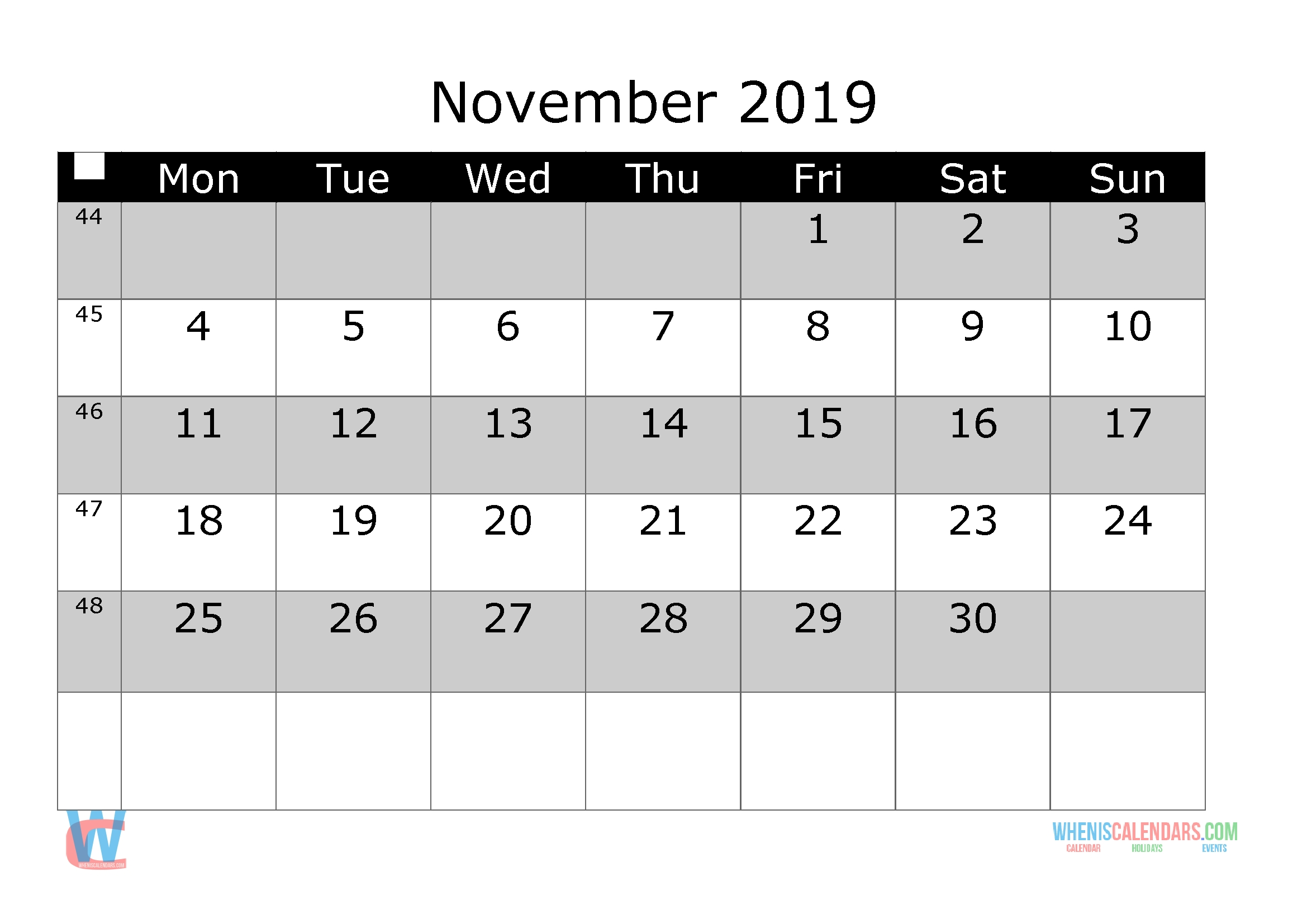 November 2019 Printable Monthly Calendar With Week Numbers Monthly Calendar Starts On Monday