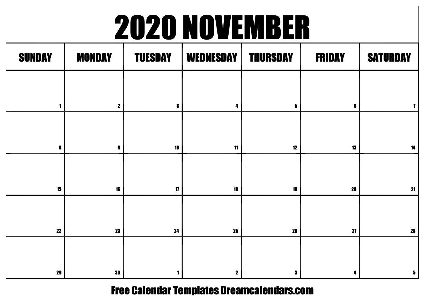 November 2020 Calendar   Free Calendar Template, Calendar Blank Calendar Page No Datea