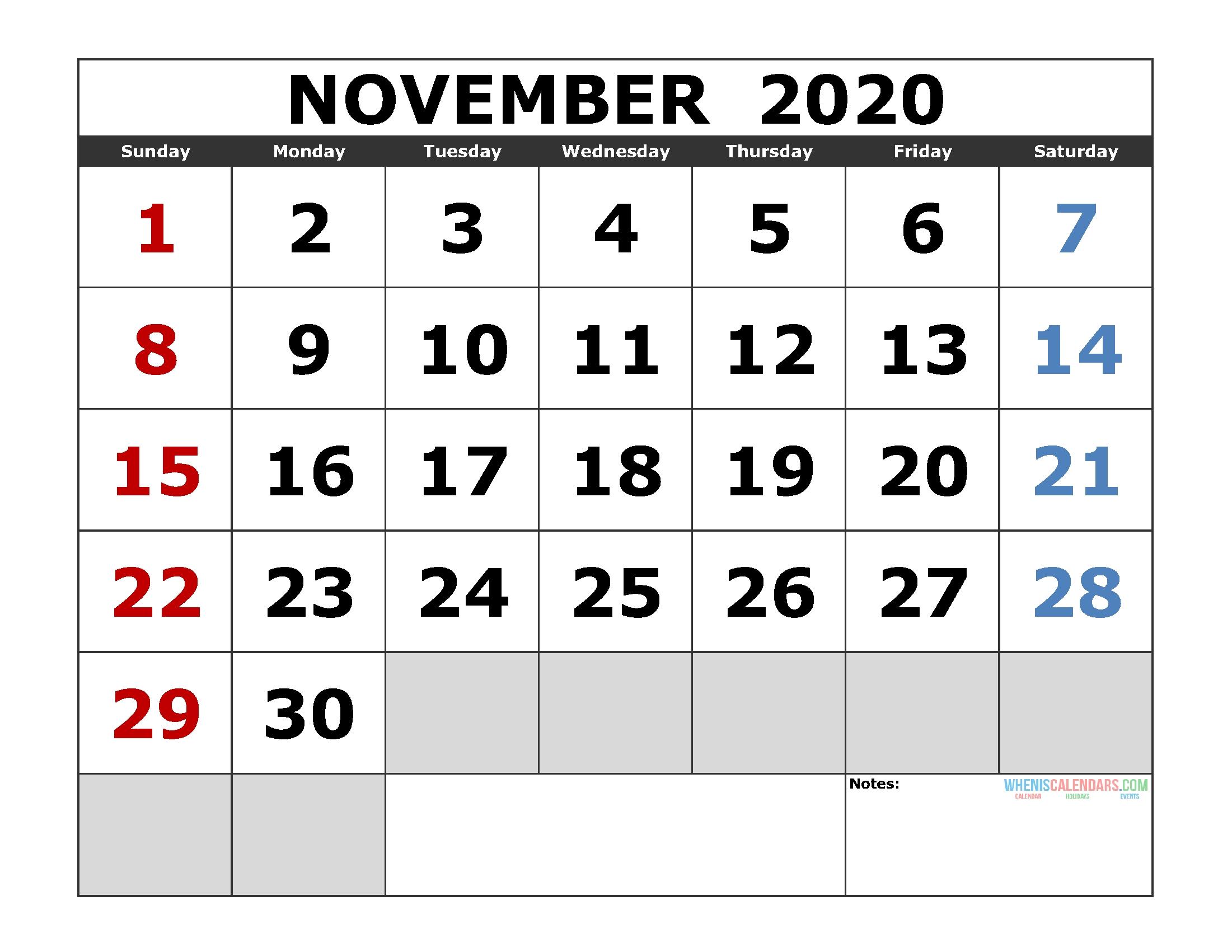 November 2020 Printable Calendar Template Excel, Pdf, Image Incredible 2020 Printable Calendars Including Holidays And Jewish Holidays