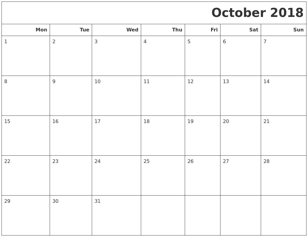 October 2018 Calendar Printable Monday Start | Print Impressive Printable Monthly Calendar Monday Start