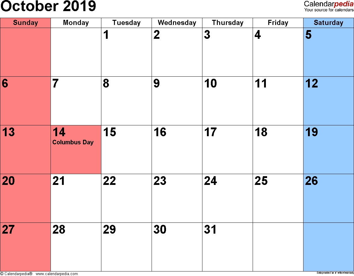 October 2019 - Calendar Templates For Word, Excel And Pdf 3 Months Per Page Calendar With Small Numbers