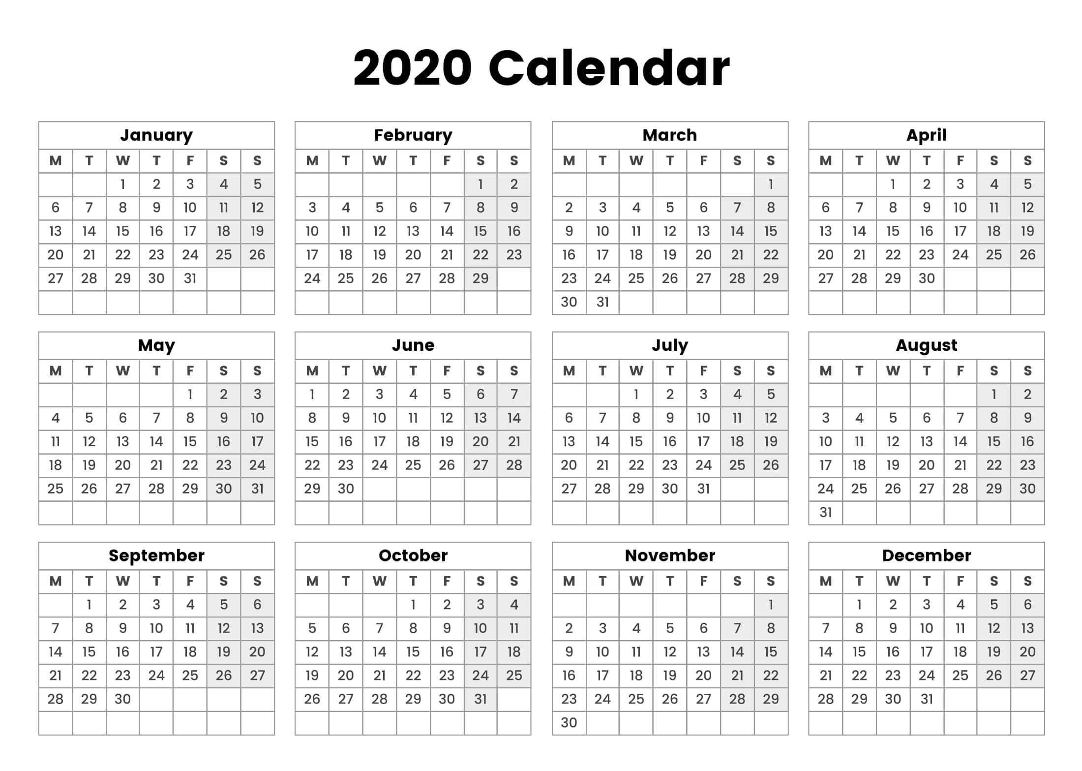 One Page Yearly Calendar 2020 Printable Cute - 2019 Exceptional 2020 Calendar One Page