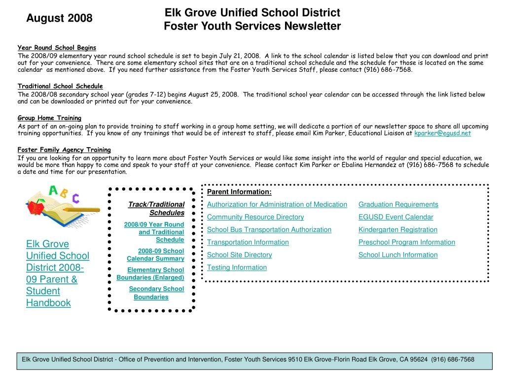 Ppt - Elk Grove Unified School District Foster Youth Elk Grove Elementary School Calendar