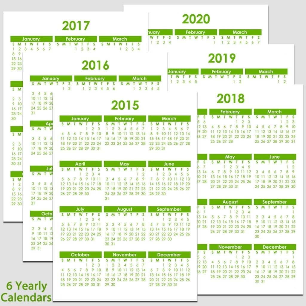 Printable 2015 To 2020 Yearly Calendar – 8 1/2″ X 11″. The Remarkable 8.5 X 11 Calendar Print