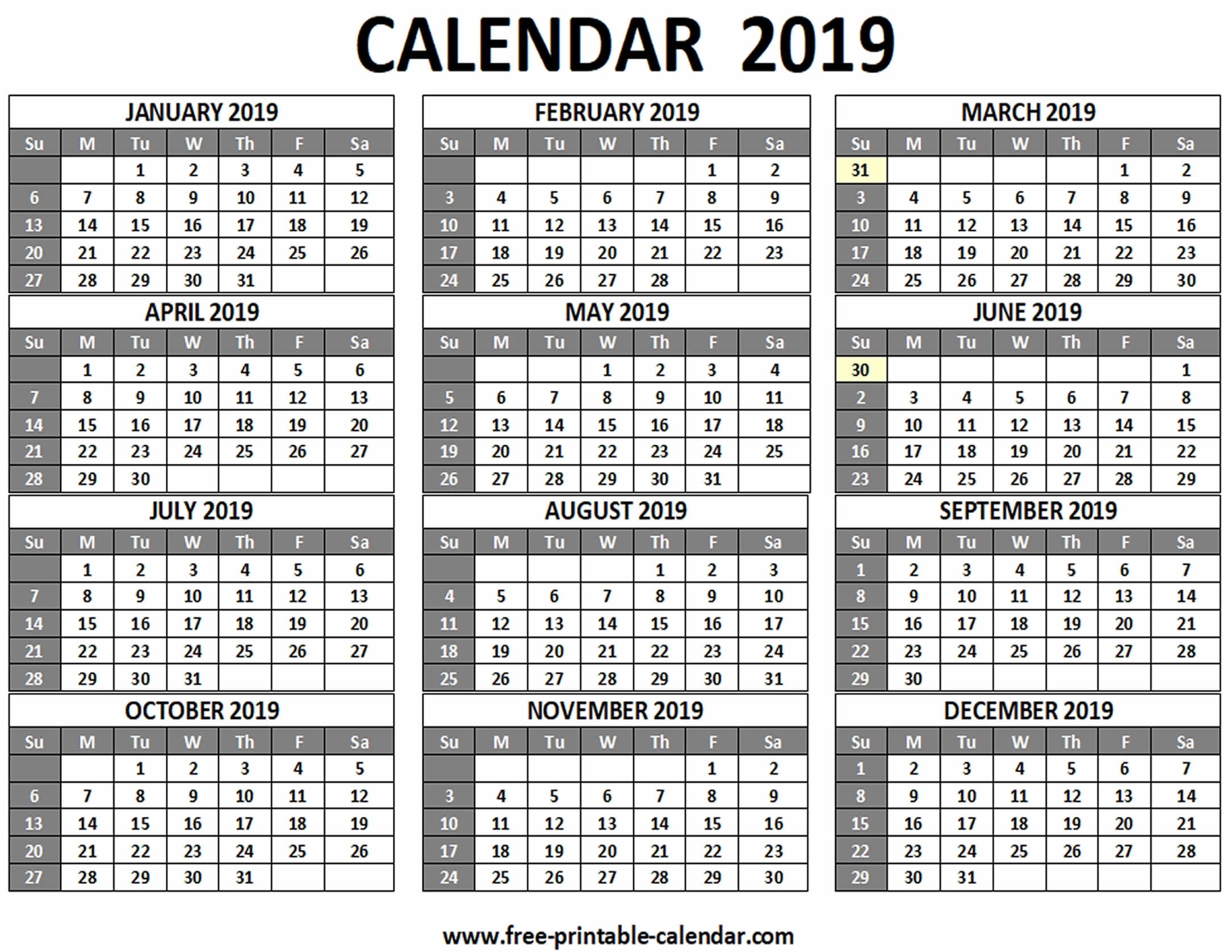 Printable 2019 Calendar - Free-Printable-Calendar Calendar Template Months On One Page Word