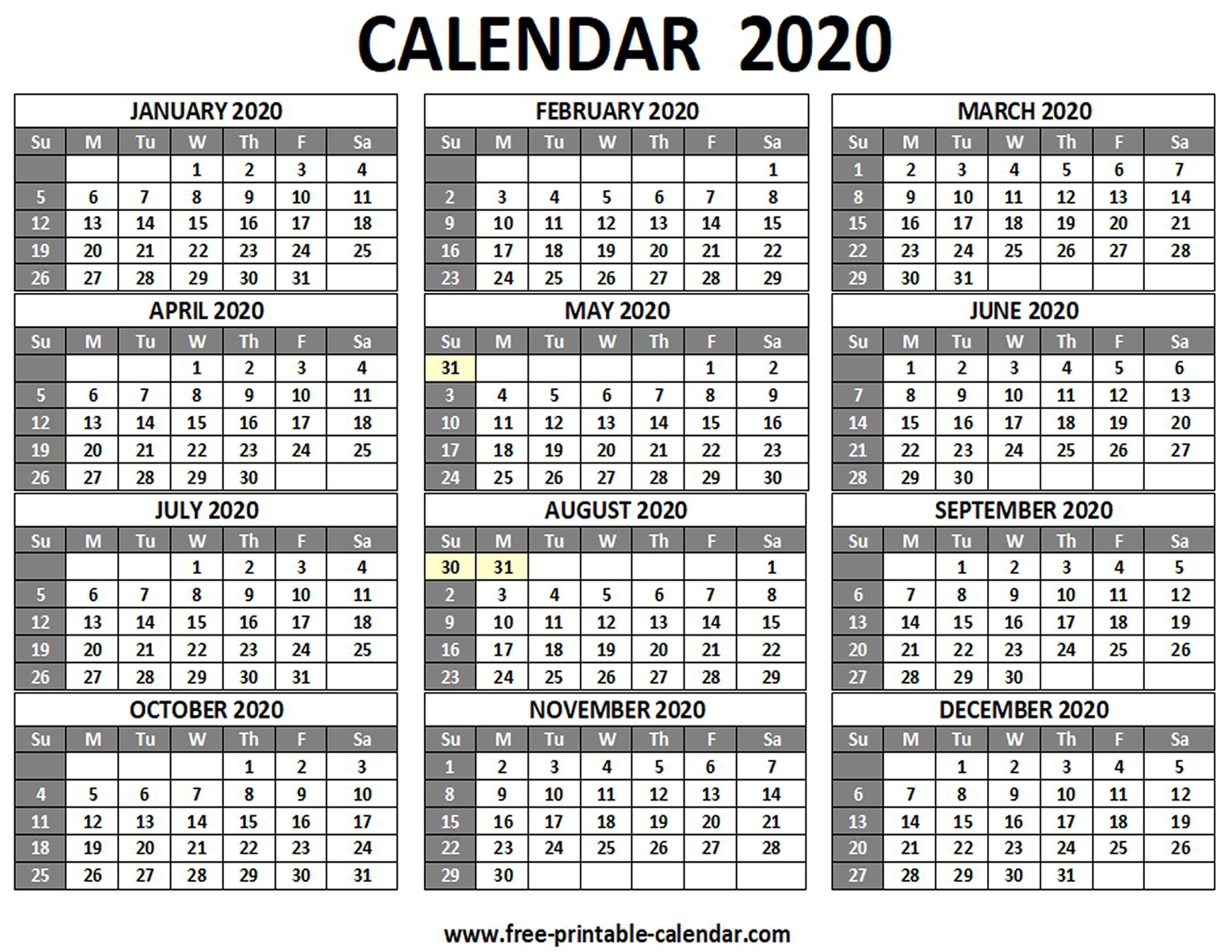 Printable 2020 Calendar - Free-Printable-Calendar 2020 Calendar One Page