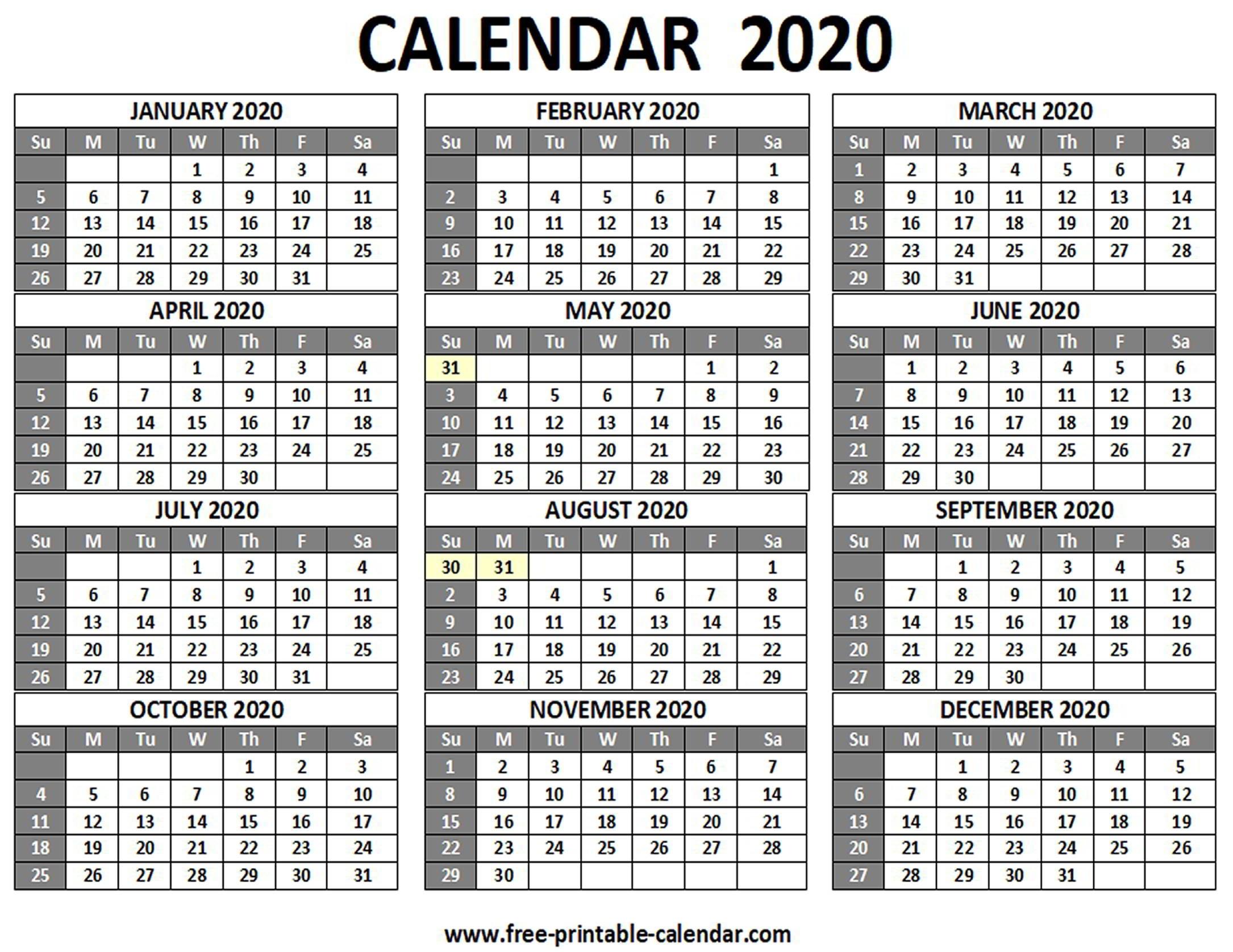 Printable 2020 Calendar - Free-Printable-Calendar Extraordinary Calendar Template 2020 Printable Free Black And White